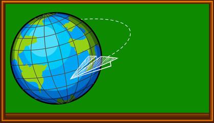 Planet earth on blackboard