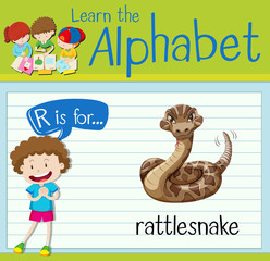 Flashcard letter r is for rattle snake