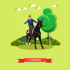 Cowboy on horse with lasso, flat design