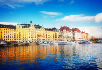 Scenic panorama of the Old Town in Stockholm, Sweden, toned