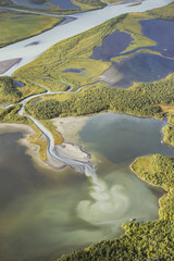 Aerial view from Skierfe of the rapadalen river valley with stunning colorati