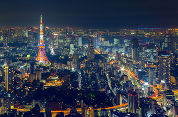 Tokyo city view and Tokyo landmark Tokyo Tower in evening