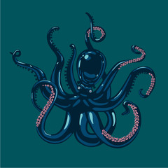 Colored octopus on isolated background. Vector illustration