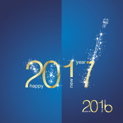 New Year 2017 The End 2016 gold blue vector