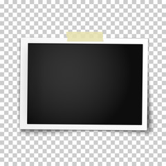 Realistic vector photo frame with straight edges on sticky tape.