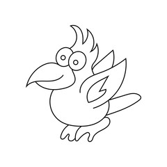 Beautiful parrot in a linear style. Coloring for children. Tropi