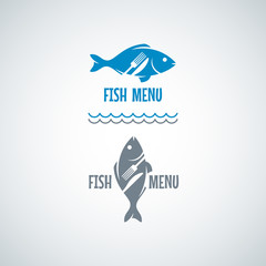 Fish Food Logo. Fork And Knife Vector Background