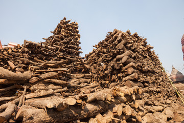 Wood stacked for burning at Manikarnika Ghat