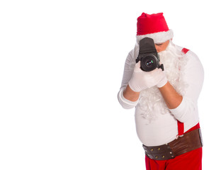 Santa Claus taking a picture, Santa Claus on a white background