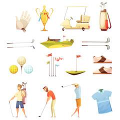 Wall Mural - Golf Attributes Retro Cartoon Icons Set