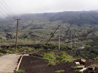 三宅島 噴火で被災した道路