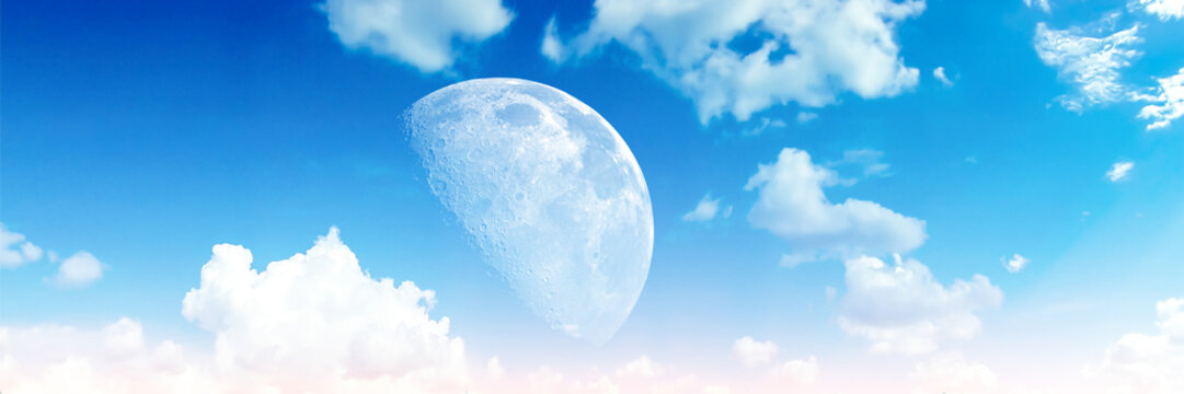 Panorama heap blue blur cloud sky half moon