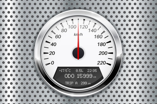 Speedometer. On metal perforated background