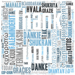 Thank you word cloud background in many different languages