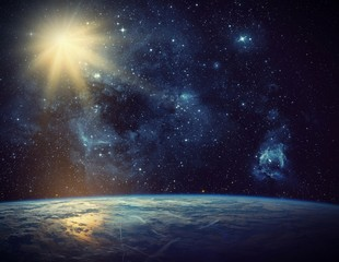 Wall Mural - Earth, galaxy and sun. Elements of this image furnished by NASA.
