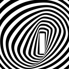 A black and white spiral optical illusion. Vector illustration.