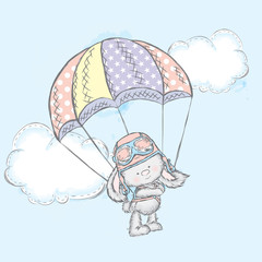 Cute hare flies on a parachute. Vector illustration for a card or poster. Print on clothes. Charming Bunny.