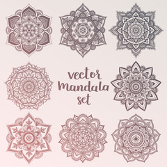 Mandala. Set of vector circle ornaments. Abstract sacred geometry. Boheamin hipster colors. Boho mandala collection.