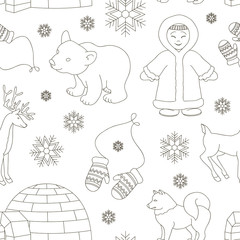 Vector set of eskimo characters pattern
