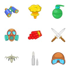 Army weapons icons set. Cartoon illustration of 9 army weapons vector icons for web