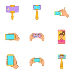 Photography on smartphone icons set. Cartoon illustration of 9 photography on smartphone vector icons for web