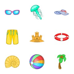 Relax on beach icons set. Cartoon illustration of 9 relax on beach vector icons for web