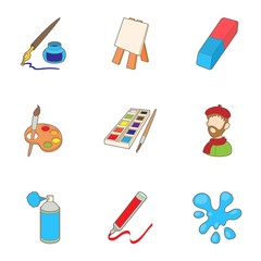 Painting icons set. Cartoon illustration of 9 painting vector icons for web