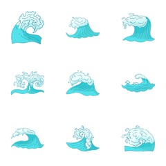 Sea waves icons set. Cartoon illustration of 9 sea waves vector icons for web