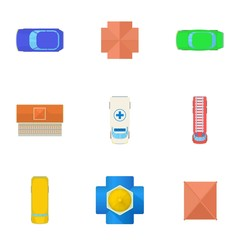 Roof icons set. Cartoon illustration of 9 roof vector icons for web