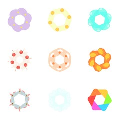 Signs flowers icons set. Cartoon illustration of 9 signs flowers vector icons for web