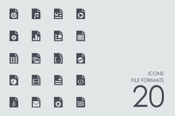 Set of file formats icons