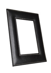 Square leather art photo frame isolated on white