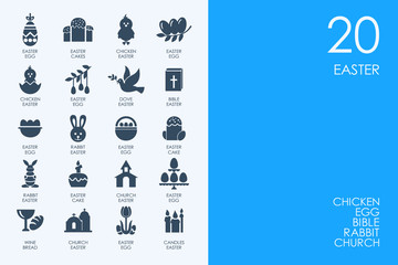 Set of BLUE HAMSTER Library Easter icons