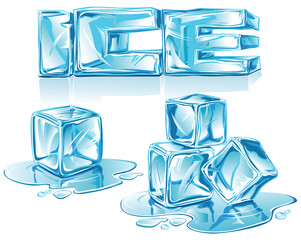 Blue vector ice cubes, ice text and water drops