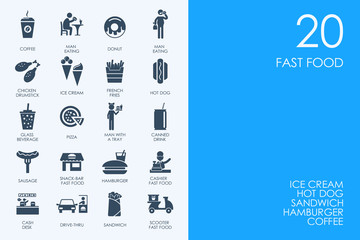 Set of BLUE HAMSTER Library fast food icons