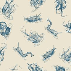 Old caravel, vintage sailboat, sea monster. Vector seamless pattern. Mythological vintage sea monster. Fragment of old pirate map