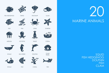 Set of BLUE HAMSTER Library marine animals icons