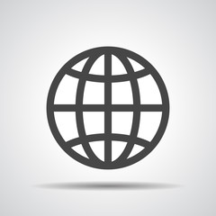 globe planet icon on a grey background
