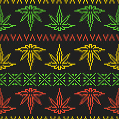 Pixel art game style rasta weed leaf seamless vector background