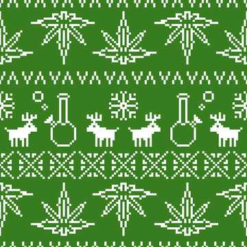 Pixel art christmas weed seamless vector background green