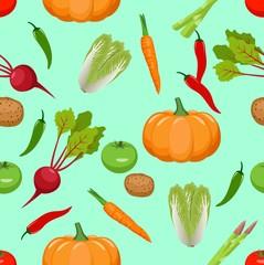 Seamless vegetables pattern. vector illustration
