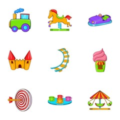 Rides icons set. Cartoon illustration of 9 rides vector icons for web