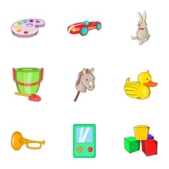 Toys icons set. Cartoon illustration of 9 toys vector icons for web