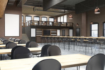 Loft cafe with bar stand and blackboard