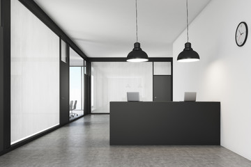 Office lobby with a reception counter