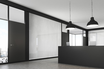 Side view of an office lobby with a reception counter