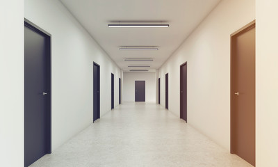 Long corridor with closed black doors, toned