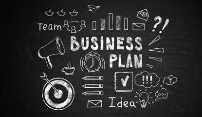 Business plan sketch on chalkboard