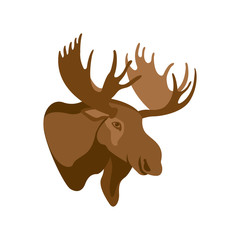 Moose head profile vector illustration style Flat