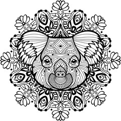 Totem coloring page for adults. The head of the Koala
